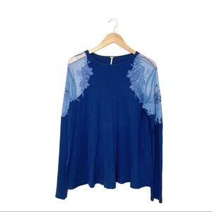 Free People Blue Lace Shoulder Daniella Top Size M